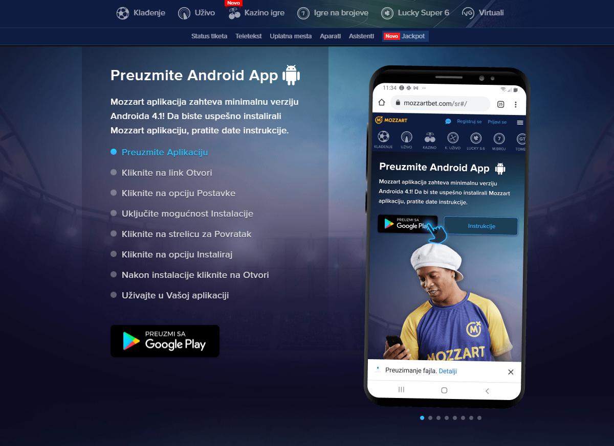 mozzart bet aplikacija